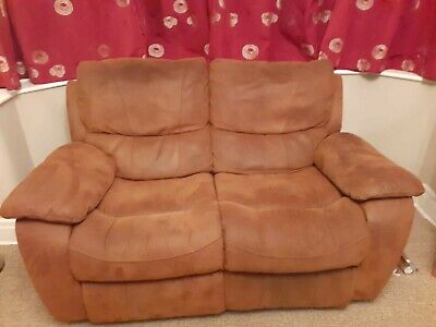 HARVEYS 2 SEATER brown Suede recliner sofa - £35.00 ...