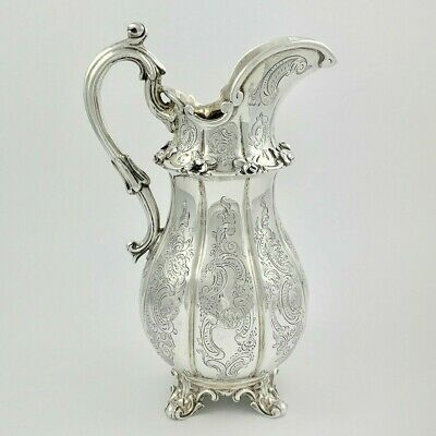 Beautiful Antique Victorian Large Heavy Sterling Silver Milk Jug - London 1843