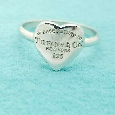 Tiffany & Co. Please Return To Tiffany 925 Sterling Silver Heart Ring Size 9