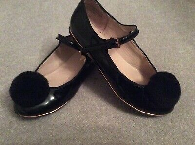 girls shoes Ted Baker size 3 black patent with a fur Pom rose gold trim good con