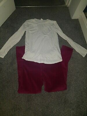 Girls Zara Outfit Age 11/12 Berries And Cream Trousers And Long Sleeved Top