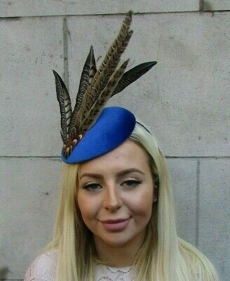 Royal Blue Brown Pheasant Feather Pillbox Hat Fascinator Headband Races 7821