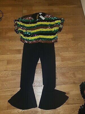 Girls River Island Age 11/12 Sequin Outfit Crop Top And Flute Trousers Bnwts