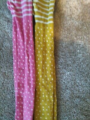 Frugi pink spot and yellow spot tights, 8-10 years, good used condition