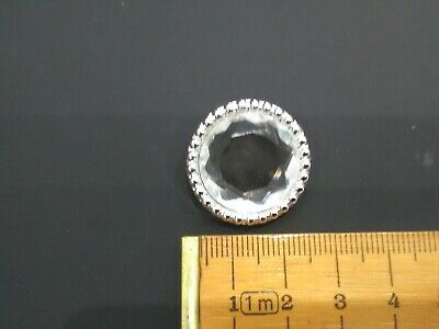 20 Silver Faceted Crystal Rhinestone Buttons 25mm in diameter