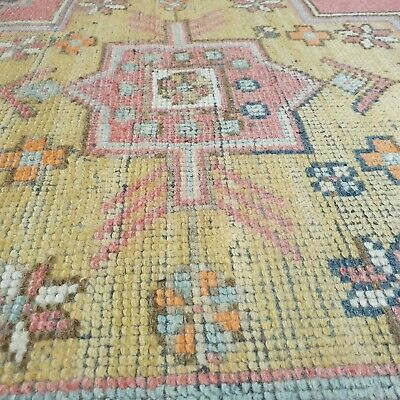 Antique Cr1930-1949's Natural Dye Distressed Wool Pile Oushak Area Rug 3'10×8'
