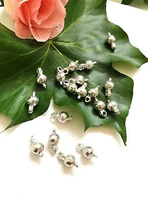 20 Silver Metal beads with eyelet
