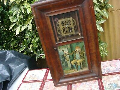 Vintage  American Clock  Movement  Come inside  Wall Case With Pair Of Weight