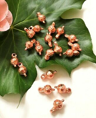 20 Copper Metal beads with eyelet
