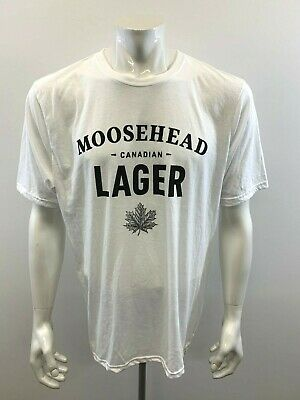 Moosehead Canadian Lager Mens XL White Spell Out Short Sleeve Crew Neck T Shirt