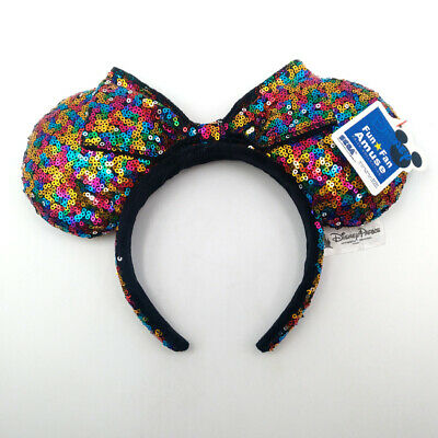 Disney Parks Minnie Mouse Ears Mickey Multicolor Bow Sequins Gift Cos Headband
