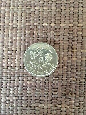 2014 £1 One Pound Coin Irish Floral Flax And Shamrock Emblem Ireland Flower