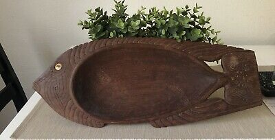 Vintage Tribal Papua New Guinea Trobrian ISLANDS Carved Wooden BOWL Tray Fish
