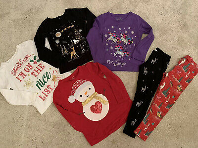 Girls Christmas Jumper T-shirt Top Leggings Bundle Age 5 6 Or 5-6 Years Next Etc