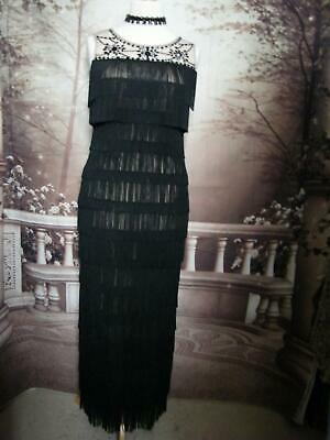 Phase Eight Ballgown/Dress size 14 Black Fringe Flapper Beaded Evening Gown 20's
