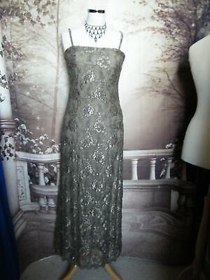 PHASE EIGHT Dress/Ballgown Size 12 Taupe Beaded Lace Evening/Gatsby/Formal 1920s