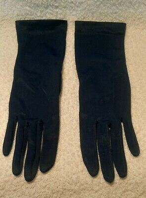 "Vintage navy blue 11.25"" long day gloves size 6.5 1950s for dress or wedding NEW"