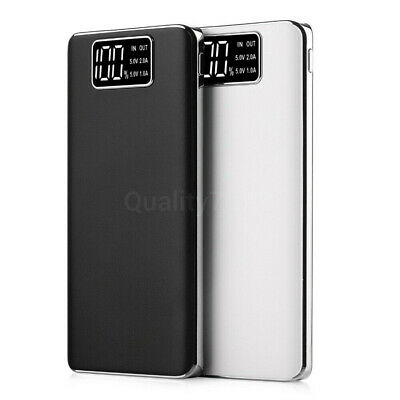 30000mah Power Bank Fast Charger Dual USB LCD Battery Powerbank iPhone Samsung