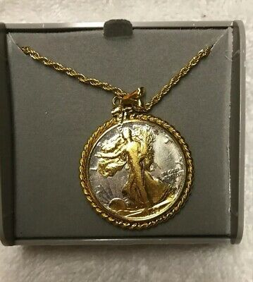 Walking Liberty Half Dollar Solid Coin Necklace Pendant Gold on Silver