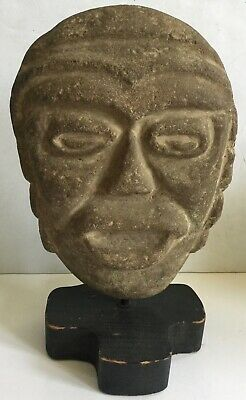Pre-Columbian  Large Carved Basalt Head -Old Important Estate Collection
