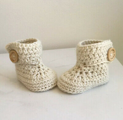 Baby Handmade Knitted Crochet Booties Shoes / Newborn-3 months