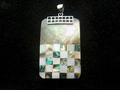 Large Oblong Pendant multi blocks of mother of pearl and abalone silver bale