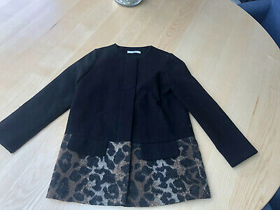 M&S Black Tailored Jacket With Leopard Print -  Age 9-10 - Bargain!