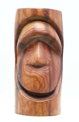 Hand Carved Wood Figural Statue Easter Island Style Signed