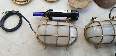 Heavy Solid Brass Maritime Architectural Antique Ship light pair avail.