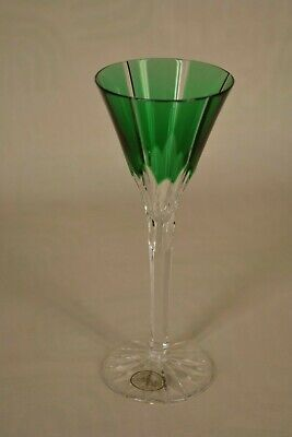 Emerald Green Hand Cut 24% PbO Crystal Delicate Apertif Glass Made in Hungary