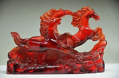 Exquisite Delicate Chinese Amber Hand Carved Lifelike 3 Horse Statue.gift