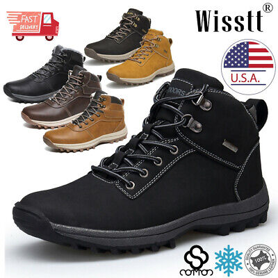 Men Snow Boots Winter Waterproof Leather Warm Fur Lined Outdoor Work Ankle Shoes
