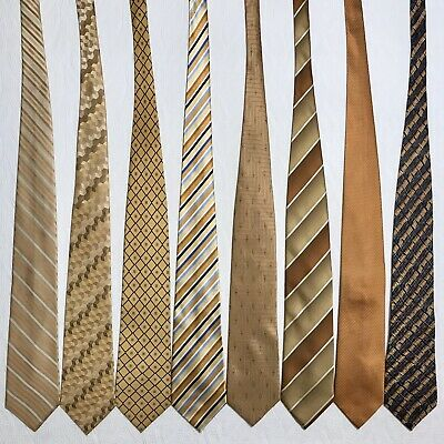 8 Men's Ties Brassy Yellow Gold VanHeusen Nautica Neiman Marcus Silk Tie Lot