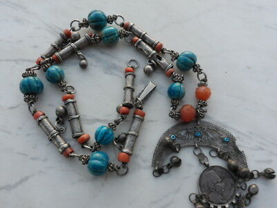 old Antique Vintage solid silver necklace ethnic coral, Egypt faience 1920s