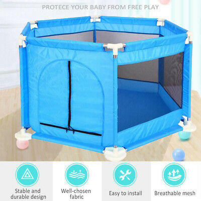 6 Sided Portable Baby Playpen Interactive Baby Room Kids Play Room Safety Gate