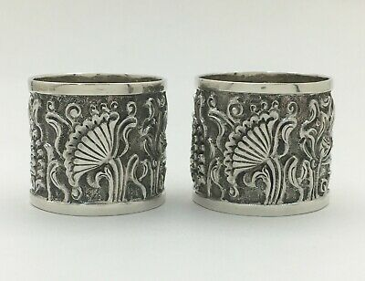 Superb Antique Pair Sterling Silver Repousse Napkin Rings