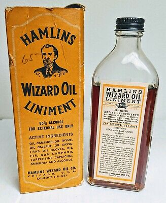 Antique Hamlin's Wizard Oil Liniment Bottle with Box Almost Full Quack Medicine