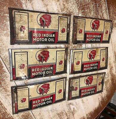 lot of 6 Red Indian Motor Oil Flat Can Rare Advertising Tin Graphic Sign Cans