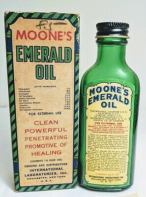 Antique MOONE'S Emerald Oil Liniment Bottle w Box & Instruction Quack Medicine