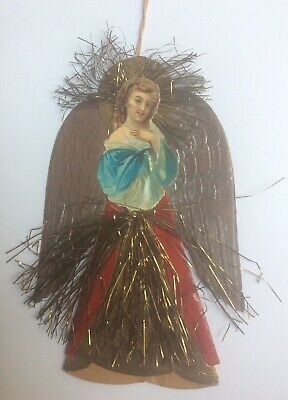 Antique Dresden Angel Ornament German Christmas Scrap Die Cut Tinsel Tree Topper