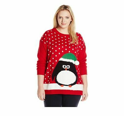 Notations Womens Red Sweater Penguin Plus Size 2x Ugly Cute Christmas