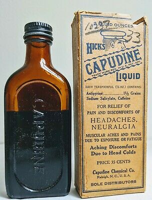 Antique Hicks Full Bottle with Box Capudine Liquid Quack Medicine Headache  2 oz