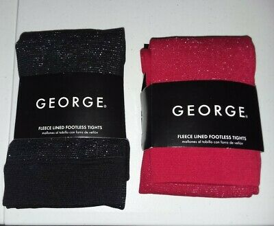 BUY1GET1.George-Girls-Size12-16 Fleece Lined-Footless Tights-Red/Black Sparkle