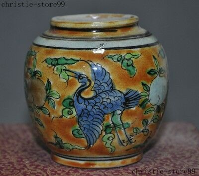 Old Chinese Wucai porcelain glaze Painted Crane Peach Zun Tank Crock Pot Jar