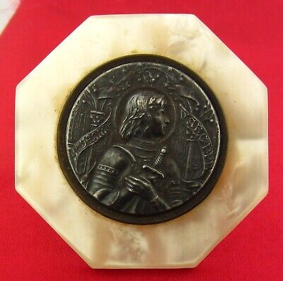 Vintage Antique French SAINT JOAN OF ARC MEDAL Mini Picture Plaque With Stand