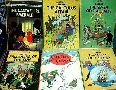 THE ADVENTURES OF TINTIN..6 DIFFERENT TITLES PUBLISHED BY METHUEN IN THE 1970s.