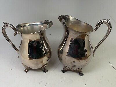 2 Vintage Silverplate Footed Water Pitchers with Ice Lips LEONARD and ROGERS