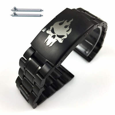 Steel Metal Bracelet Replacement Watch Band Strap Black Skull Collection #5016