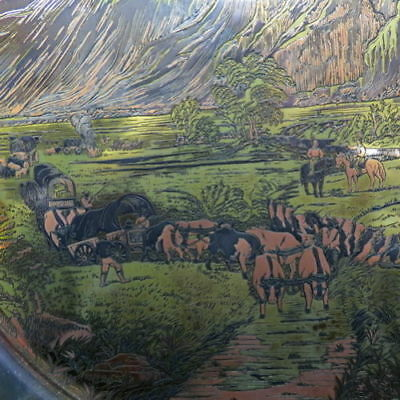CURRIER & IVES Reed & Barton Damascene plate Rocky Mountains Migration
