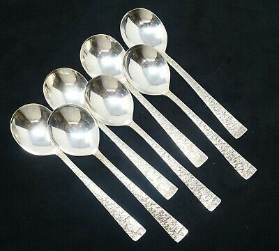 "International Silver Co. ""Vintage"" Pattern Round Soup Spoon Set of 7"